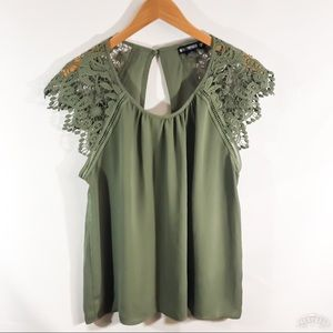 MISS CHIEVOUS Green cut out lace sleeve top/XL